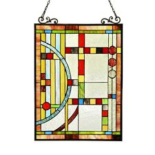 "PAIR Stained Glass Tiffany Style Window Panels Contemporary Design 17.5"" x 25"""