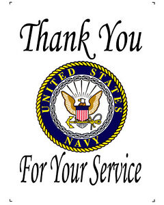 """US Navy Thank You For Your Service 10"""" x 14"""" Printed Fabric COTTON Quilt Block"""
