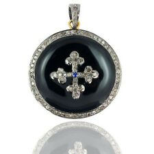 Pendant 925 Sterling Silver Jewelry Cy 14k Gold Diamond Pave Sapphire Cross