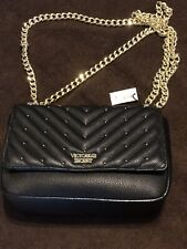 Victoria's Secret Studded V-Quilt Small Bond Street Shoulder Bag Black