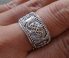 925 Sterling Silver-LH14-Bali Carved Design-Handmade Ring Size 8