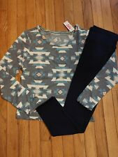 NWT Girls Justice Thermal Aztec Print Top/Navy Leggings Size 16/18