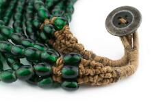 Translucent Green Naga Bead Necklace 7mm Nepal Oval Glass Large Hole