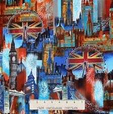Travel Fabric - Cityscapes London Big Ben Buildings - Benartex Kanvas YARD