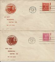 Four Electric Eye Prexy FDCs with circular cachets, four cents to nine cents