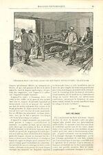 Evacuation Blessés Chemin de Fer Paris-Versailles GRAVURE ANTIQUE OLD PRINT 1889