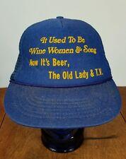 Vintage 70s 80s Quote funny Fishing Beer Hat Cap Snap back Trucker Mesh TV Wine