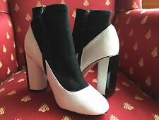 French Connection IZA BOOT Black/White COLOR-BLOCK Leather Suede EU 37.5-US 7M