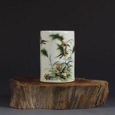 China antique Porcelain MINGGUO Pastel reed  Wild goose Flower bird Brush Pot