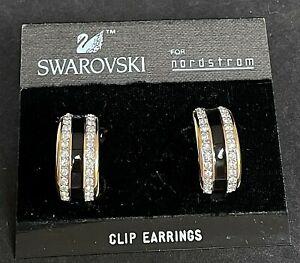"NWT SWAROVSKI Gold Tone Black Enamel Rhinestone Clip On Earrings 1 1/8"" L07"