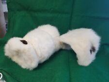 Vintage Childs Muff & Matching Hat - White Rabbit Fur W/ Black Tippits