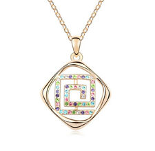 18K Rose Gold Plated Made with Swarovski Elements Square Labyrinth Necklace