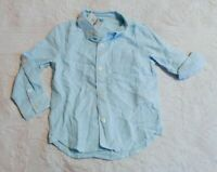 Gap Toddler Boy's Long Sleeve Linen-Cotton Shirt CD4 Blue Size 3T NWT