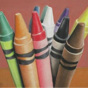 Still Life Artwork #315 Pastel Painting Bouquet of Crayons