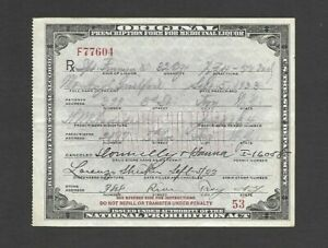 U.S. NATIONAL PROHIBITION ACT PRESCRIPTION FOR WHISKEY, TROY NY, SEPT 5, 1933