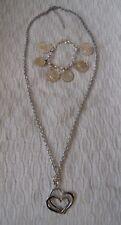 "Bijou Brigitte custom Jewellery 15""Love Heart Necklace & Coin Bracelet"