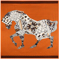 Fashion Luxury Blanket Scarf Horse Print Imitate Twill Silk Shawl Bandana 130cm