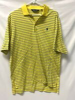 POLO GOLF Ralph Lauren Mens Polo Shirt - Large Pima Cotton - Yellow Striped