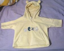Next Newborn unisex hoodie in lemon with the word Next on the front