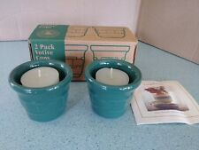 Longaberger made in Usa Pottery Votives set of 2 in Ivy green w/candles New, box