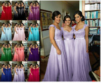 Plus Size Long Chiffon Formal Evening Bridesmaid Dresses Wedding Party Prom Gown