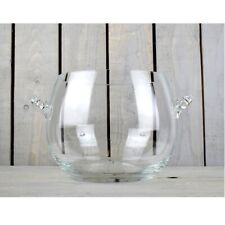 Large Round Glass Bowl Clear With Handles 8 L