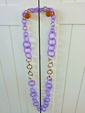 BIG ACRYLIC CHAIN HOOPS  CIRCLES LONG PLASTIC  NECKLACE LILAC PURPLE GOLD