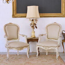 Shabby Cottage Chic Pair Of Vintage Bergere Armchairs Chairs Cream Almond Mocha