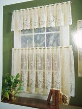 LACE WINDOW 1 PIECE TIER CURTAIN IVORY  ROSE DESIGN 62 X 12 IWVR622