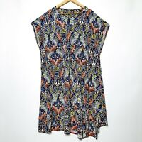 One Size Floral Birds Relaxed Fit Tunic Shirt Dress