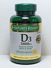 Nature's Bounty VITAMIN D3 5000IU, 400 Softgels *Bone, Teeth & Immune Health*