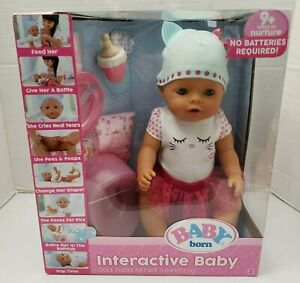 Baby Born Interactive Baby Doll Feed Bottle Cries Pees Poops Change Diaper NEW