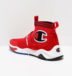 Mens Champion Rally Pro Lifestyle High Top Shoes Red Black White CPS10125M