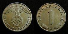 Germany / Third Reich - 1 Reichspfennig 1939 J ~ swastika