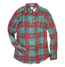 J Crew Factory - Women's XS - NWT - Red/Green Plaid Perfect Fit Flannel Shirt