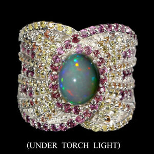Unheated Oval Fire Opal 9x7mm Rhodolite Sapphire 925 Sterling Silver Ring Size 8