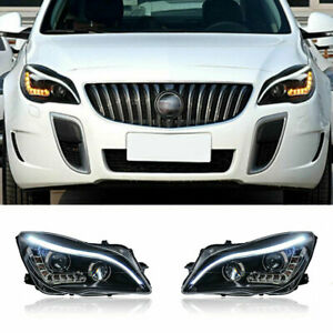 For Buick Regal LED Headlights Projector LED DRL Replace OEM Halogen 2014-2017