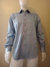 """Robert Graham """"Outdrive"""" New Mens Teal Striped Long Sleeve Sport Shirt Size L"""