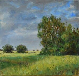 """Po deszczu"""" Original Oil Painting 30x30cm signed Garncarek Al,,"""
