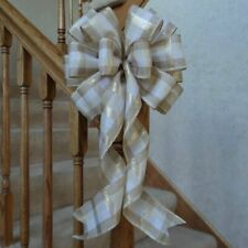"""10"""" Wide Cream & Gold Plaid Christmas Bow~Decoration For Wreaths Crafts Gifts"""