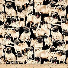 Animal Fabric - Pet Dog Pugs on Black - Timeless Treasures YARD