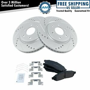 Brake Rotor Drilled & Slotted Coated & Ceramic Pad Front Set for Nissan