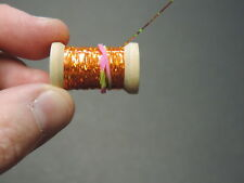 1 Spool of Extra Thin Flat Orange Holographic Tinsel Flash Ribbing, 12 Yards