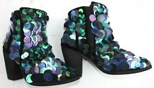 Free People boots Size 5.5, 6 black blue green booties LEATHER Sequin Fall New