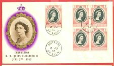 St Lucia 1953 QEII Coronation stamp Block of 4 + 1 on FDC Cover   SOUFRIERE Canc