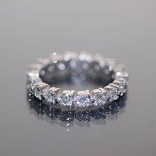 18k White gold Natural Round Diamond Eternity Full Round band ring 1.63ctw