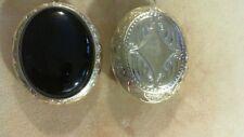 Antique style locket  with a 30x40mm Genuine Black Onyx Stone