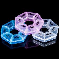 7 Days Pill Box Weekly Round Medicine Tablet Case Container Storage Holder