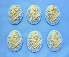 6 Ivory color Lily of the Valley Flower Light Blue 40mm x 30mm Cameos for Crafts
