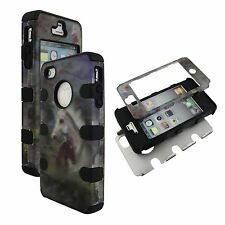 Blk Racing Horse Hybrid 3 in 1 Apple  Iphone 4 4S Case Outer Hard & Soft Cover